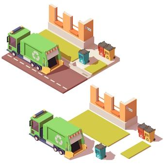 Izometryczna ulica z śmieciarką i oddzielnymi pojemnikami na śmieci