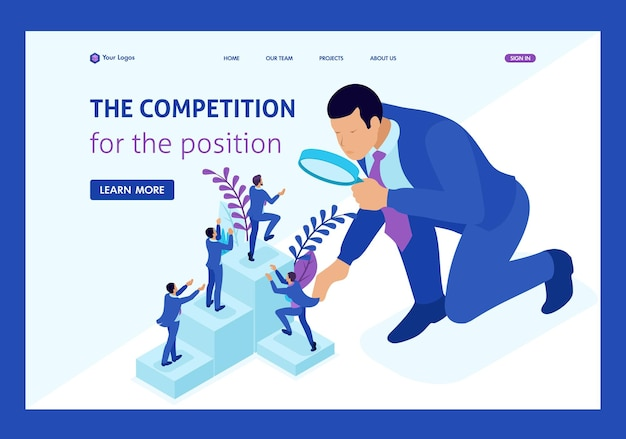 Izometryczna walka konkurencyjna o rozwój kariery, biznesmen patrzy na kandydatów przez szkło powiększające. strona docelowa szablonu witryny.