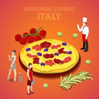 Izometryczna włoska kuchnia narodowa z pizzą i kucharzem. płaskie ilustracji wektorowych