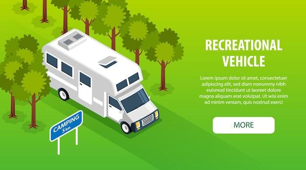 Izometryczna Wycieczka Samochodami Kempingowymi Pozioma Ilustracja Banne Premium Wektorów