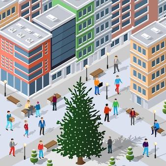 Izometryczna zimowa bożonarodzeniowa dzielnica miasta z domami, ulicami, ludźmi.