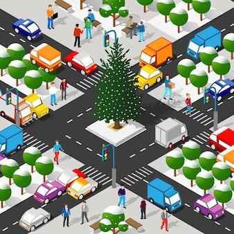 Izometryczna zimowa dzielnica miasta z ulicami, ludźmi, samochodami.