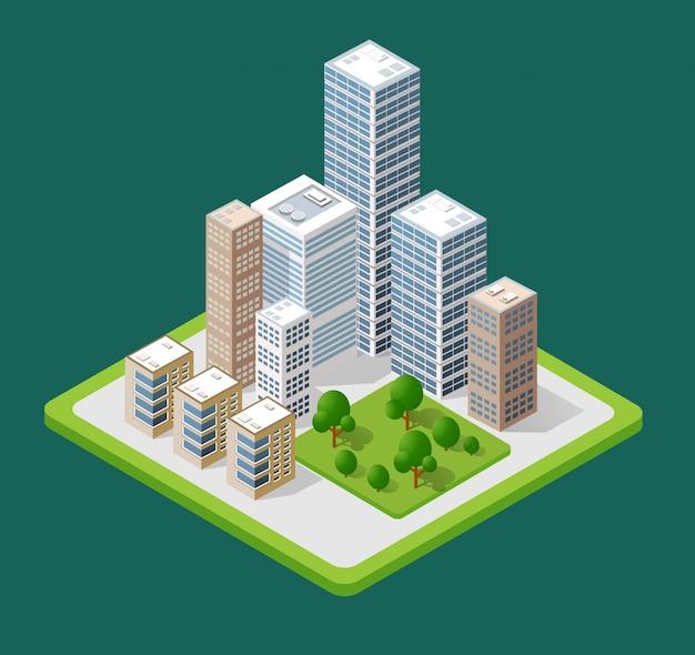 Izometryczne 3d ikony miasta