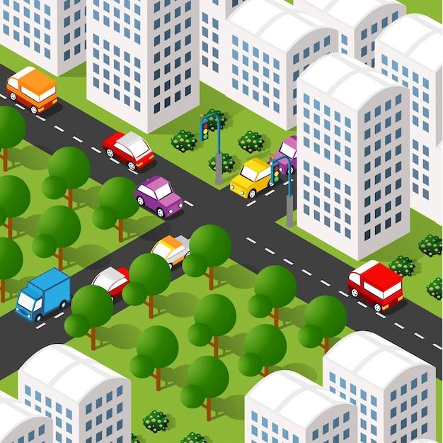 Izometryczne 3d ilustracja dzielnicy miasta z domami