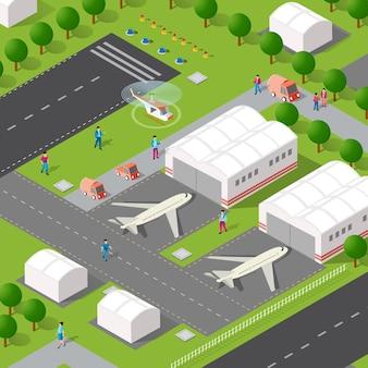 Izometryczne 3d ilustracja planera miejskiego lotniska z ulicami, ludźmi, samochodami