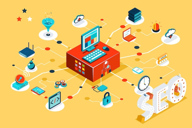 Izometryczne 3d ilustracja seo. dane wyszukiwania, optymalizacja online, informacje badawcze, projekt i słowo kluczowe, baza danych linków, filtr chmury.