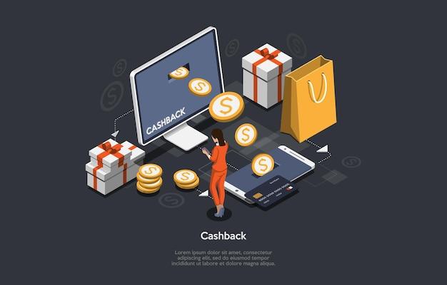 Izometryczne 3d ilustracja zwrotu gotówki i zwrotu pieniędzy online.