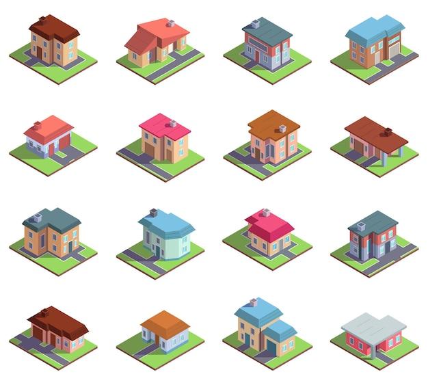 Izometryczne 3d nowoczesne domy mieszkalne podmiejskie lub miejskie. wiejskie domki lub kamienice wektor zestaw ilustracji. budynki domków podmiejskich. izometryczne kolekcja domów nowoczesne, podmiejskie miasto