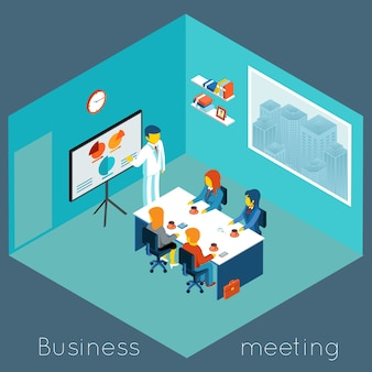 Izometryczne 3d spotkanie biznesowe. praca zespołowa i burza mózgów, współpraca i współpracownik, konferencja procesowa