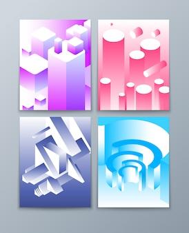 Izometryczne abstrakcyjne kształty. 3d futurystyczne geometryczne przedmioty w modnych kolorach. kolekcja broszury wektorowej