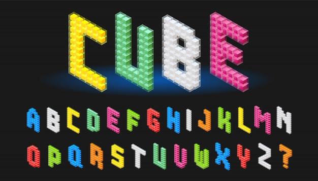 Izometryczne alfabet czcionki abc kostki