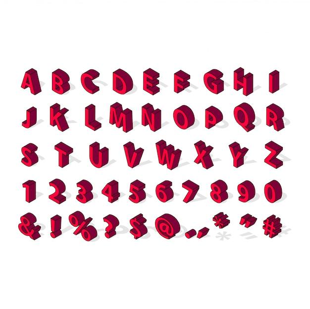 Izometryczne alfabet czcionki na białym tle