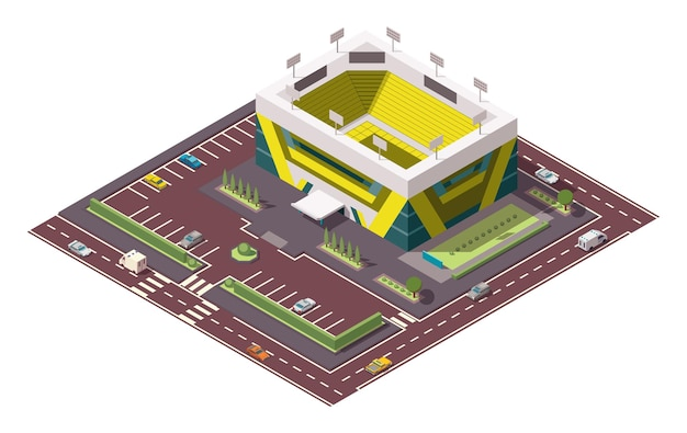 Izometryczne arena sportowa. miejsce największych zawodów sportowych. wektor ikona lub element infografiki reprezentujący koszykówkę lub stadion hokejowy z samochodów i autobusów na ulicy.