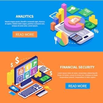 Izometryczne banery bezpieczeństwa finansowego