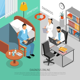 Izometryczne banery diagnostyki medycznej online