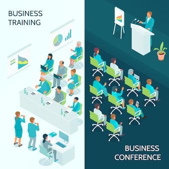 Izometryczne banery edukacji biznesowej