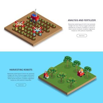 Izometryczne banery inteligentnej farmy z plantacjami i robotami żniwnymi