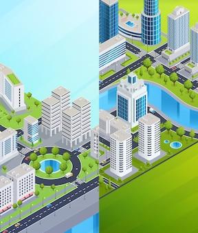 Izometryczne banery miejskie