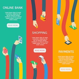 Izometryczne banery pionowe wykorzystania bankomatu