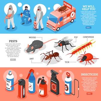 Izometryczne banery poziome kontroli szkodników