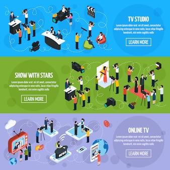 Izometryczne banery poziome media tv