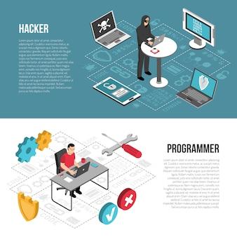 Izometryczne banery programisty hakera