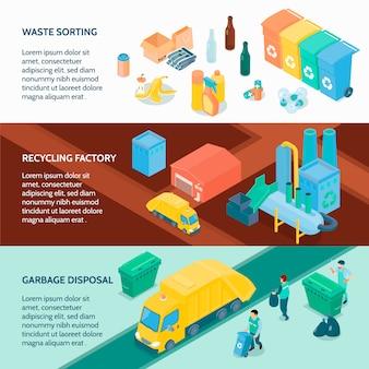 Izometryczne banery recyklingu śmieci