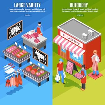 Izometryczne banery sklepu mięsnego