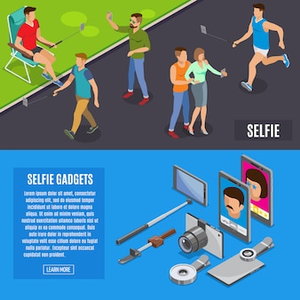 Izometryczne banery social photo selfie
