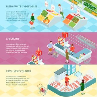 Izometryczne banery supermarketów