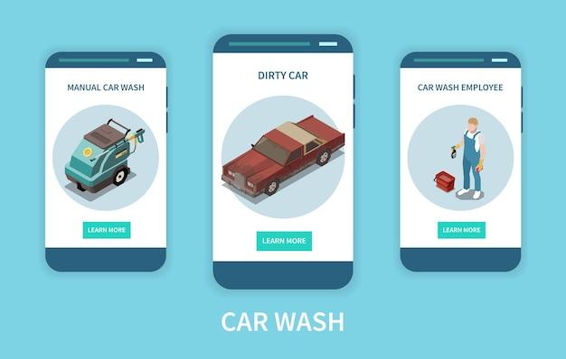 Izometryczne banery zestaw z pracownikiem myjni i brudnym samochodem osobowym na białym tle na niebieskim tle 3d