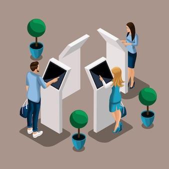 Izometryczne bankomaty w banku, kierownik banku, klienci turowi, obsługa klienta