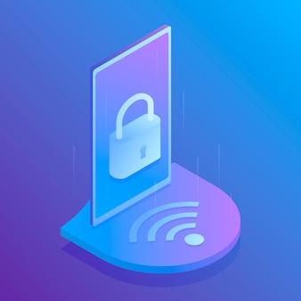 Izometryczne bezpieczeństwo wi-fi 3d, bezpieczne połączenie z wi-fi. nowoczesna ilustracja