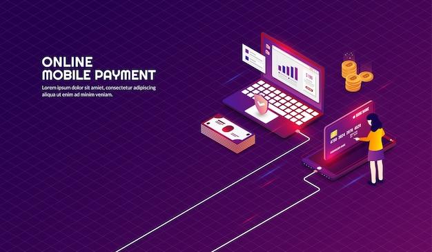 Izometryczne bezpieczne i bezpieczne tło płatności online