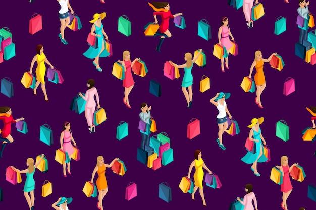 Izometryczne bezszwowe tło, dziewczyny, wakacje, czarny piątek, zakupy, dziewczyny iść na zakupy dokonać zakupu