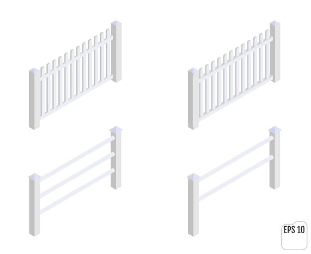 Izometryczne białe sekcje ogrodzenia. konstruktor ogrodzeń.