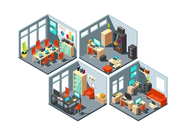 Izometryczne biura biznesowe z różnymi obszarami roboczymi.