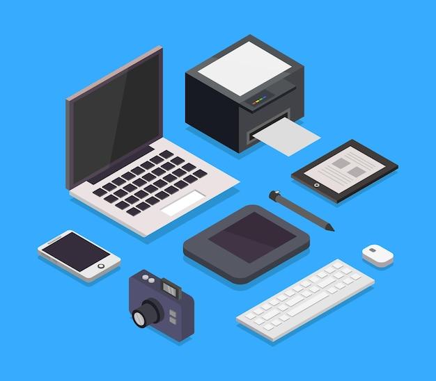 Izometryczne biurko projektanta graficznego
