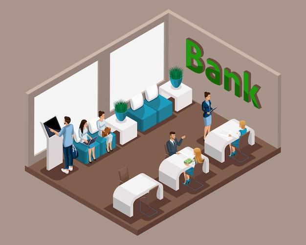 Izometryczne biuro banku, pracownicy banku obsługują klientów, kolejka elektroniczna, poczekalnia, klienci banku czekają na swoją kolej na komunikację z konsultantem