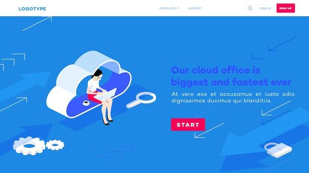 Izometryczne biuro w chmurze. kobieta z laptopem siedzi na chmurze. proces pracy hostingu.