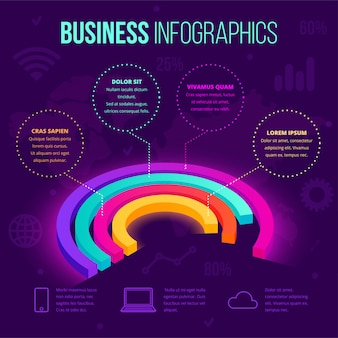 Izometryczne biznes infographic szablon. 3d neon gradientu wykres kołowy ikona, kreatywny pomysł na układ dokumentów, raporty, prezentacje, infografiki, projektowanie stron internetowych, aplikacje. ilustracja