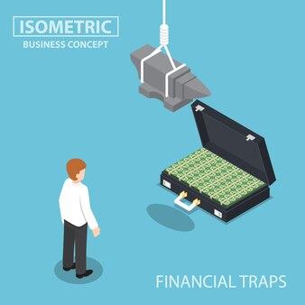 Izometryczne biznesmen chce walizkę pełną pieniędzy z kowadłem nad głową