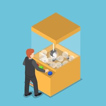 Izometryczne biznesmen coraz świecącą żarówkę z maszyny do gry pazur