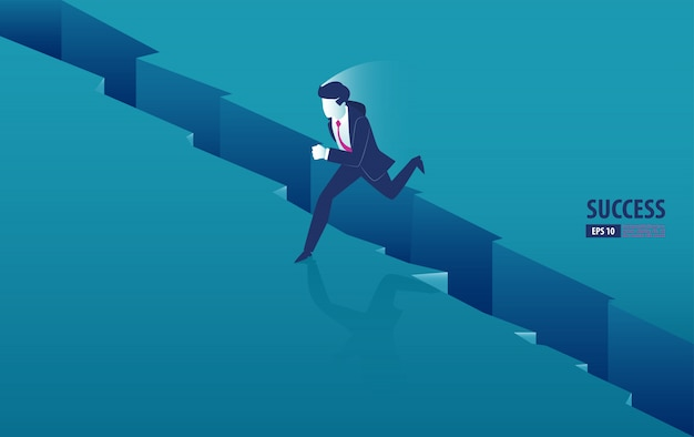 Izometryczne biznesmen przeskakując przepaść między klifami. biznes ilustracja wektorowa