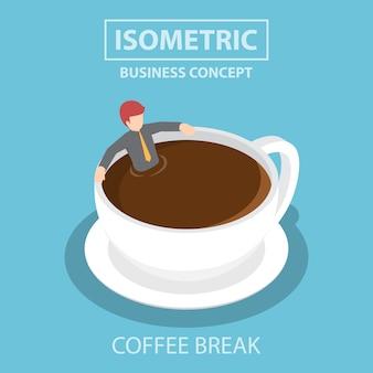 Izometryczne biznesmen relaksujący w filiżance kawy