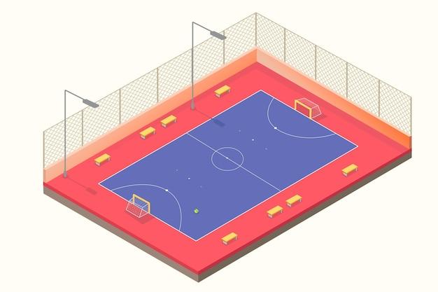 Izometryczne boisko do futsalu w kolorze niebieskim i czerwonym