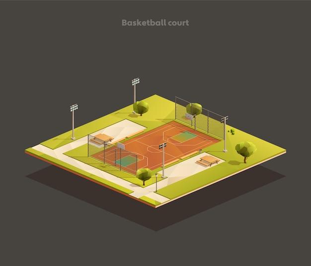 Izometryczne boisko do koszykówki na zewnątrz szkoły publicznej