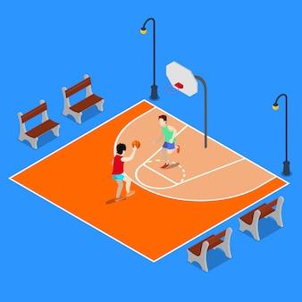 Izometryczne boisko do koszykówki. sportowi ludzie grający w koszykówkę.