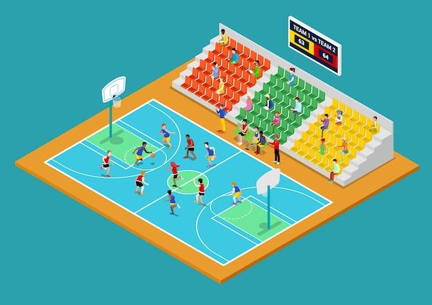 Izometryczne boisko do koszykówki z zawodnikami i fanami. ilustracja