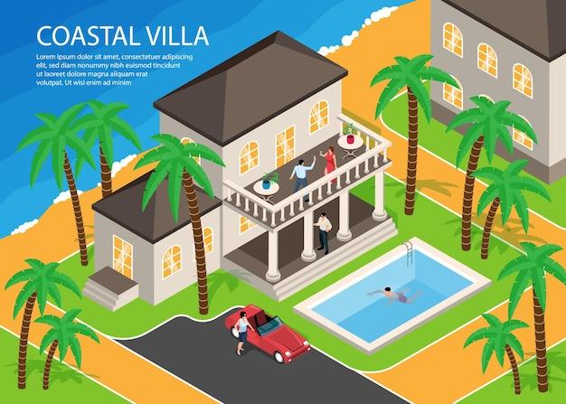 Izometryczne brzegi morza południowego z luksusowym nadmorskim basenem willowym i poziomą ilustracją palmy